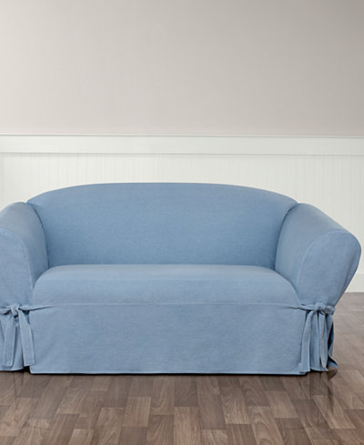 Sure Fit Authentic Denim One Piece Loveseat Slipcover Slipcovers For The Home Macy 39 S