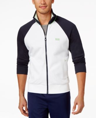 Hguo Boss Green Mens Full-Zip Colorblocked Knit Jacket