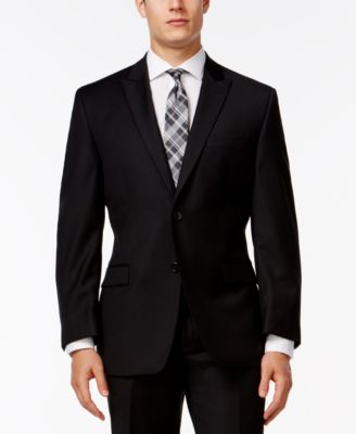 Calvin Klein Black Peak Lapel Slim-Fit..