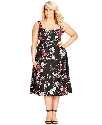 City Chic Plus Size Sleeveless Fit Amp Flare Floral Print