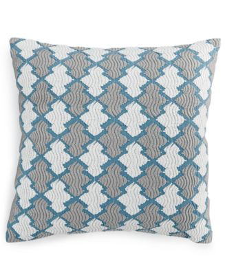 Hotel Collection Mulberry Decorative Pillows : Hotel Collection Linen Turquoise Embroidered 18