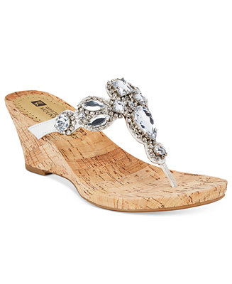 White Mountain Abra Embellished Wedge Sandals Sandals