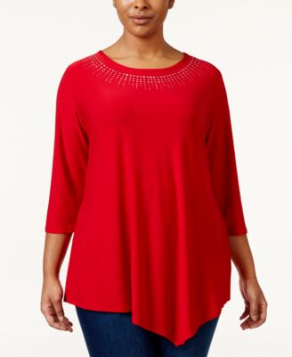 Belldini Plus Size Studded Asymmetrical-Hem Tunic Top