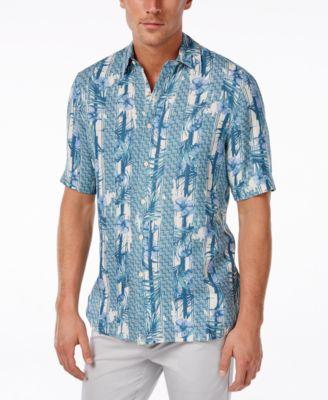 Tasso Elba Mens Big and Tall Silk Linen Print Short-Sleeve Shirt