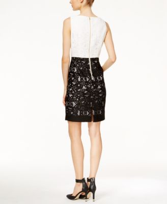 Calvin Klein Lace Colorblocked Sheath ..