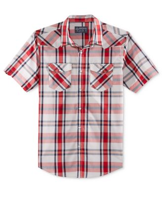American Rag Mens Short Sleeve Plaid S..