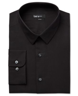 Bar III Slim-Fit Black Solid Dress Shirt
