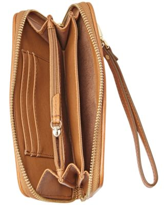 Fossil Sydney Woven Leather Zip Around Phone Wallet
