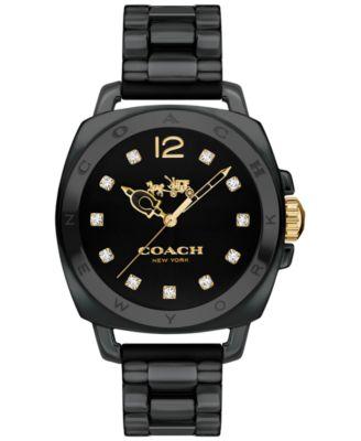 COACH Women's Boyfriend Black Ceramic Bracelet Watch 34mm 14502504