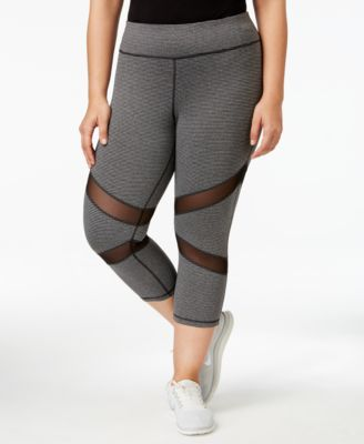 Ideology Plus Size Mesh-Inset Cropped Leggings, Only at Macy's