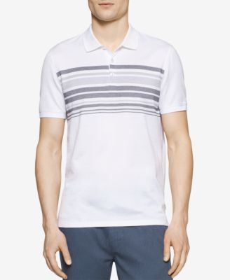 Calvin Klein Mens Slim-Fit Striped Polo