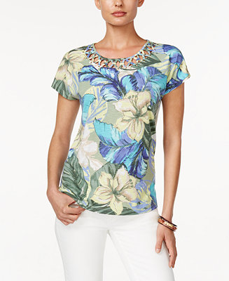 Alfred dunner petite tropical print lattice detail top for Alfred dunner wedding dresses