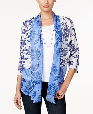 Alfred dunner petite printed layered look necklace blouse for Alfred dunner wedding dresses