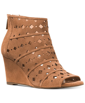 Michael Michael Kors Uma Wedge Peep Toe Booties Boots