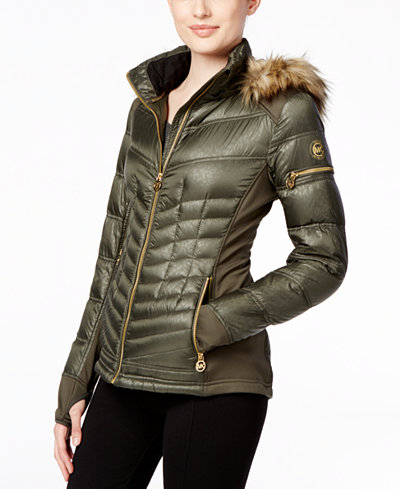 MICHAEL Michael Kors Faux-Fur-Trim Mixed-Media Puffer Coat ...