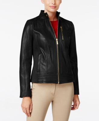 MICHAEL Michael Kors Petite Leather Bomber Jacket