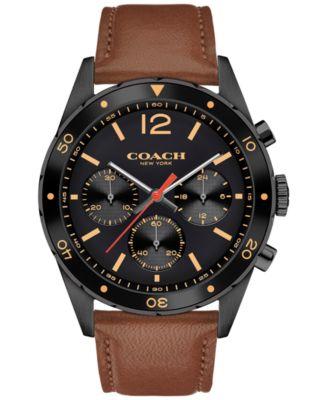 COACH Men's Chronograph Sullivan Sport Dark Brown Leather Strap Watch 44mm 14602070