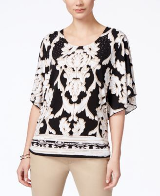 JM Collection Printed Butterfly-Sleeve Top