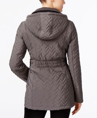Calvin Klein Water Resistant Hooded Chevron Quilted Coat