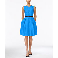 Calvin Klein Floral Lace Belted Fit & Flare Womens Dress (Cerulean)