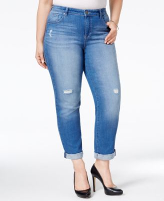 Style & Co. Plus Size Distressed Saint Wash Boyfriend Jeans, Only at Macy's