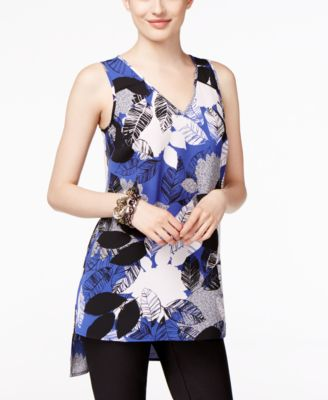 Alfani Petite Printed High-Low Swing Top