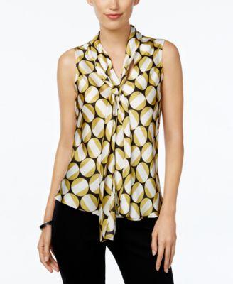 Nine West Printed Tie-Front Blouse