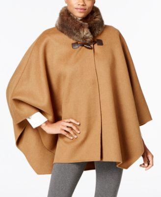 Jones New York Faux-Fur-Collar Double Faced Toggle Cape