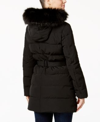 Calvin Klein Water Resistant Faux-Fur-Trim Belted Puffer Coat