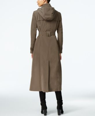 London Fog Hooded Layered Maxi Trench Coat