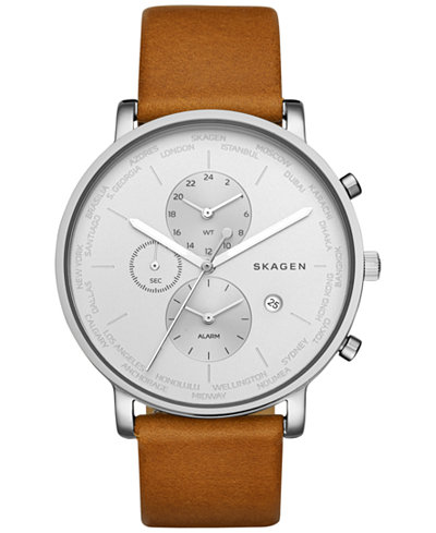 Skagen Men S Hagen Skw Silver Leather Quartz Fashion