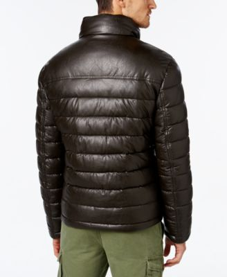 Tommy Hilfiger Mens Faux-Leather Puffer Jacket