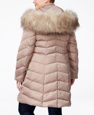 T Tahari Plus Size Faux-Fur-Trimmed Puffer Coat