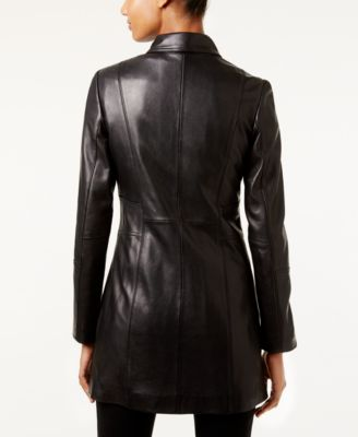 Anne Klein Mid-Length Leather Coat