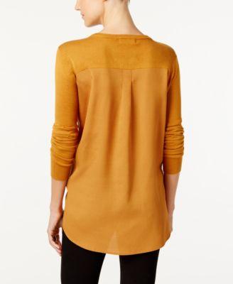 One A Keyhole Chiffon-Back Sweater