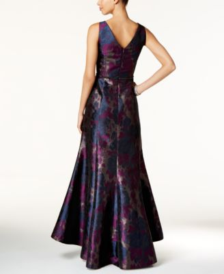 Tahari ASL Floral-Print Jacquard A-Line Gown