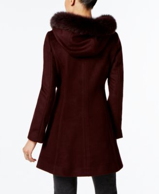 Forecaster Fox-Fur-Trim A-Line Walker Coat