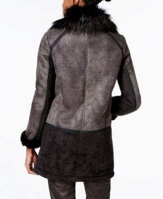 T Tahari Faux-Fur-Trim Colorblocked Faux-Shearling Coat