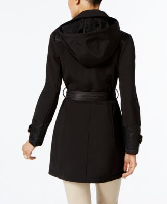 Via Spiga Petite Mixed-Media Quilted Asymmetrical Coat