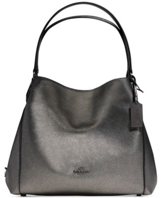 COACH Edie Shoulder Bag 31 in Metallic Pebble Leather