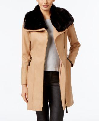 Via Spiga Petite Faux-Fur-Collar Mixed-Media Wool-Blend Walker Coat