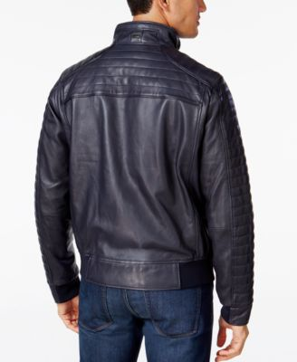 Hugo Boss Green Mens Jalon Quilted Leather Jacket