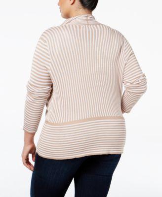 Belldini Plus Size Zip-Trim Striped Cardigan