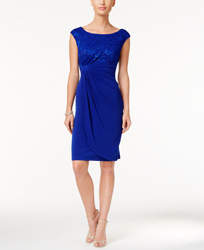 Connected Sequin Lace Faux Wrap Dress Dresses Women