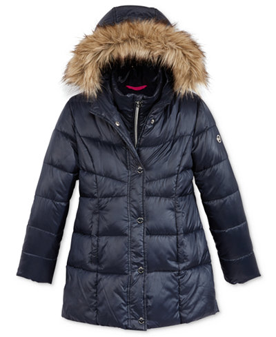 Michael Kors Girls Stadium Puffer Jacket With Faux Fur