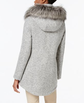 Nautica Faux-Fur-Trim Snap-Front Coat