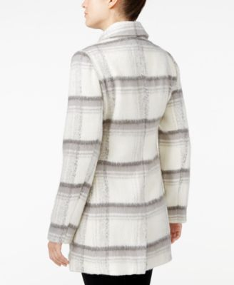 BCX Juniors Double-Breasted Plaid Coat
