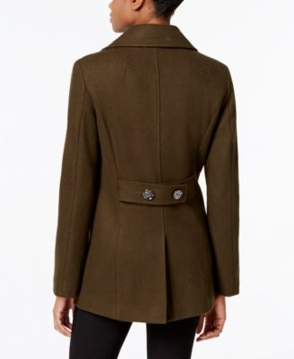 Kenneth Cole Petite Double-Breasted Peacoat