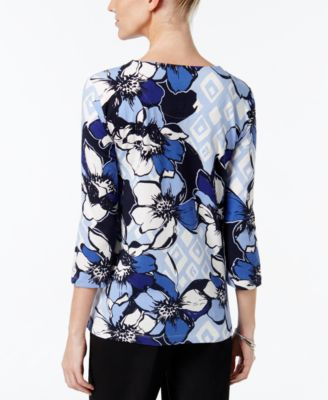 Alfred Dunner Floral-Print Beaded-Neck..