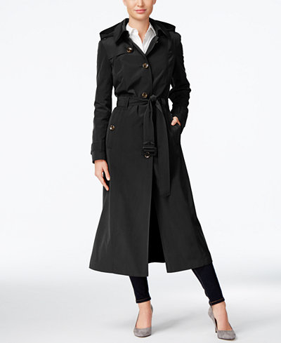 London Fog Petite Hooded Maxi Trench Coat Coats Women